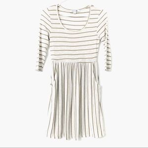 F21 Cream Dress with Brown Stripes Size: Small